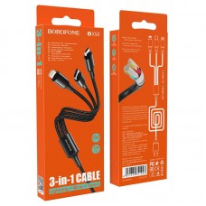 Кабель Borofone 3 в 1 Lightning / Micro-USB / Type-C BX50 Fresco - Black