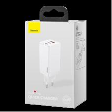 Зарядка Baseus GaN2 Pro Quick Charger 2C+U 65W EU Black (Include:Baseus Xiaobai series fast charging Cable Type-C to Type-C 100W (20V/5A) 1m (CCGAN2P-B02) - White
