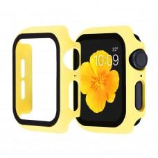 Чехол с защитным стекло для Apple Watch 38mm - Желтый