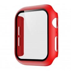 Чехол с защитным стекло для Apple Watch 44mm - Красный