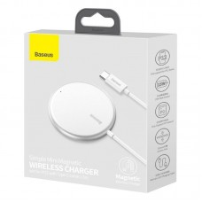 Беспроводная зарядка Baseus Simple Mini Magnetic Wireless Charger (suit for IP12 with Type-C cable 1.5m) (WXJK-F02) - White