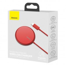 Беспроводная зарядка Baseus Simple Mini Magnetic Wireless Charger (suit for IP12 with Type-C cable 1.5m) (WXJK-H09) - Red