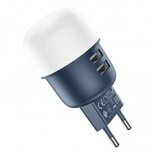 Сетевой адаптер hoco C87A Sparkle 2*USB 2.4A - Blue