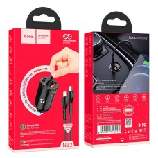 Автомобильное зарядное устройство hoco NZ2 Link кабель Type-C-Lightning - Black