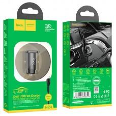 Автомобильное зарядное устройство hoco NZ4 Wise кабель Micro 2.4A - Black
