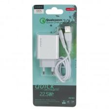 Зарядка MAIMI T30 1 USB Quick Charge 3.0 кабель Micro - White