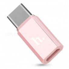 Переходник hoco Micro and Type-C adapter - Розовый