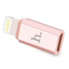 Переходник hoco Micro USB to Lightning connector - Розовый