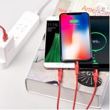 Кабель hoco X26 Xpress Lightning+Micro-USB+Type-C - Красный