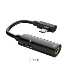 Переходник hoco LS19 Type-C 2-in-1 Audio Converter - Черный