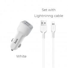 Автомобильное ЗУ hoco Z23 (lightning) - Белый