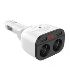 Автомобильное ЗУ hoco Z28 Power ocean cigarette lighter in-car charger with digital display - Белый