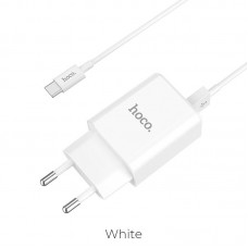 Сетевой адаптер hoco C62A Victoria dual port charger set (Type-C) (EU) - Белый