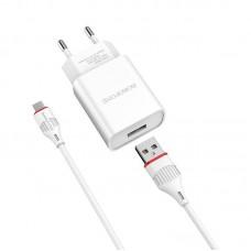 Сетевой адаптер Borofone BA20A Sharp single port charger set (Micro) (EU) - Белый