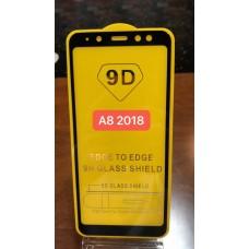 """Защитное стекло """"Full Glue"""" для Samsung A8 2018 - Черный (тех.пак)"""
