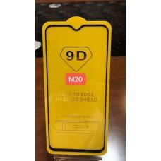"""Защитное стекло """"Full Glue"""" для Samsung M20 - Черный (тех.пак)"""