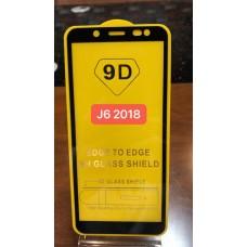 """Защитное стекло """"Full Glue"""" для Samsung J6 2018- Черный (тех.пак)"""
