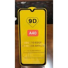 """Защитное стекло """"Full Glue"""" для Samsung A40 - Черный (тех.пак)"""