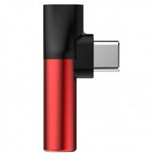Переходник Baseus L41 Type-C (input) for Type-C female connectors + 3.5 mm female connector adapters (CATL41-91) - Red