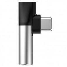 Переходник Baseus L41 Type-C (input) for Type-C female connectors + 3.5 mm female connector adapters (CATL41-S1) - Silver