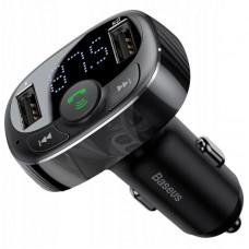 Автомобильное зарядное устройство Baseus T typed Bluetooth MP3 charger with car holder Standard edition (CCTM-01) - Черный