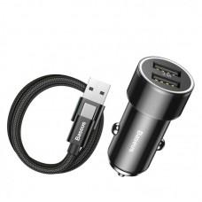 Автомобильное зарядное устройство Baseus Small Screw 3.4A Dual-USB Car Charger with Type-C cable Set (TZXLD-B01) - Черный