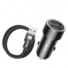 Автомобильное зарядное устройство Baseus Small Screw 3.4A Dual-USB iP Car Charging Set (TZXLD-A01) - Черный