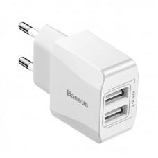 Сетевое зарядное устройство Baseus Mini Dual-U Charge 2.1A (CCALL-MN02) - Белый