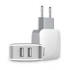 Сетевое зарядное устройство Baseus Letour Dual U Charger на 2 USB (ZCL2B-B02) - Белый