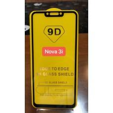 """Защитное стекло """"Full Glue"""" Huawei Nova 3i - Черный (тех.пак)"""