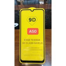 """Защитное стекло """"Full Glue"""" для Samsung A50 - Черный (тех.пак)"""