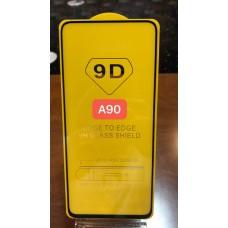 """Защитное стекло """"Full Glue"""" для Samsung A90 - Черный (тех.пак)"""