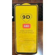 """Защитное стекло """"Full Glue"""" для Samsung A80 - Черный (тех.пак)"""