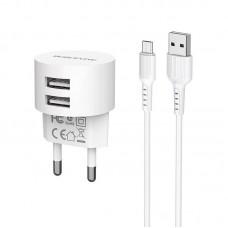 Сетевой адаптер Borofone Wall charger BA23A Brilliant EU set with cable Micro