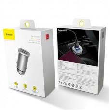 Автомобильное зарядное устройство Baseus Square metal A+A 30W Dual QC3.0 Quick Car Charger(QC 3.0 、SCP 、AFC) (CCALL-DS0S) - Silver