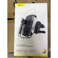 Автомобильный держатель с беспроводной зарядкой Baseus Rock-solid Vehicle Mounted Holder Wireless charger (WXHW01-0S) - Silver