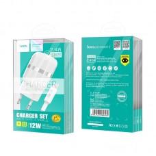 Сетевой адаптер hoco C41A Wisdom Dual Port Charger set with Type-C cable (EU) - White