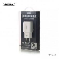 Адаптер Remax 3.0A Single USB Quick Charger RP-U16 (EU) - White