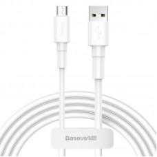 Кабель Baseus Mini White Cable USB For Micro 2.4A 1m White (CAMSW-02) - White