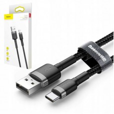 Кабель Baseus cafule Cable USB For Type-C 2A 3m (CATKLF-UG1) - Gray+Black