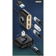 Адаптер Baseus Square round 4 in 1 USB HUB Adapter (Type-C TO USB3.0*1+USB2.0*3) 0.17m (CAHUB-BY01) - Black