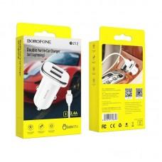 Автомобильное ЗУ Borofone BZ12 Lasting power double port in-car charger set(Lightning) - White