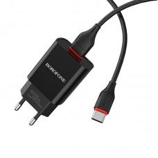 Сетевой адаптер Borofone BA20A Sharp single port charger Type-C (EU) - Черный