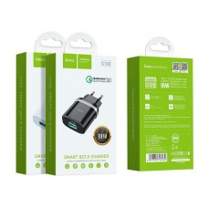 Сетевой адаптер hoco C12Q Smart QC3.0 charger (EU) - Black