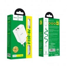 Зарядка hoco C57A Speed charger PD+QC3.0 charger set (Type-C to Lightning) (EU) - Белый
