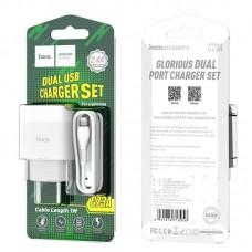 Зарядка hoco C73A Glorious dual port charger set (Lightning) (EU) - White