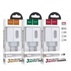 Зарядка hoco C75 Imperious dual port charger (Type-C) (EU) - White