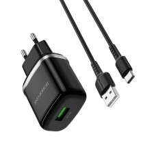 Сетевой адаптер Borofone BA36A High speed single port QC3.0 charger set (Type-C) (EU) - Black