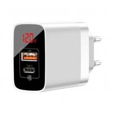 Сетевое зарядное устройство Baseus Mirror Lake PPS Digital Display quick Charger A+C EU (CCJMHC-A02) - White