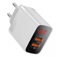 Сетевое зарядное устройство Baseus Mirror Lake Dual QC Digital Display quick Charger A+A EU (CCJMHA-A02) - White